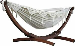 Vivere Natural C8SPCT-00 Double Cotton Hammock with Solid Pine Arc Stand