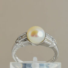 CULTURED PEARL CUBIC ZIRCONIA RING 8mm PEARL 925 STERLING SILVER SIZE O NEW