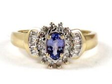 Diamond Right Hand Ring .79ct 10k Yellow Gold Oval Amethyst and