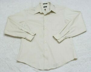 16.5 34/35 Arrow Fitted Beige Dress Shirt Man Long Sleeve Top Striped Large 1-21