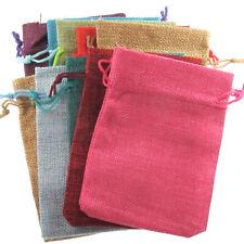 Burlap Fabric Drawstring Bags, Mixed Colors, Cloth Pouches (10 Pcs)