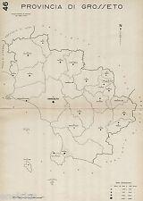 Provincia Grosseto: Tutti i Comuni 1938,Carta Topografica. Anno XVI Era Fascista