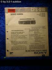 Sony Service Manual CFS 10 Cassette Corder (#3442)