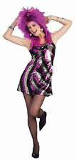 Sequin Glam 80s Rocker Retro Purple 70s Disco Dress