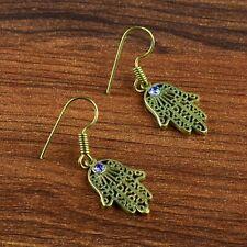 Design Hanging Drop Dangle Earring Amethyst Gemstone Statement Hamsa Fashion