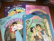 Uncut paper doll book lot Aladdin, Little Mermaid, Cinderella, and Snow White