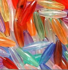 100 Plastic Spaghetti Beads Multi-Colored Transparent Mix 6mm x 19mm Oval