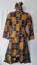 """Women Clothing African Kente Print Ankara Dress Jaxket Set Suit M 36"""" around"""