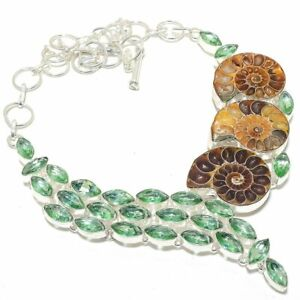 """Ammonite Fossil, Green Amethyst Silver Jewelry Necklace 18"""" MQR-3145"""
