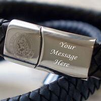 Mens Engraved SAINT CHRISTOPHER - Message Leather Bracelet - VARIOUS COLOURS