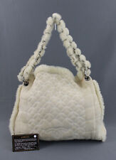 Chanel Auth Light Beige Quilted Suede Shearling Lined Chain Starp Shoulder Bag