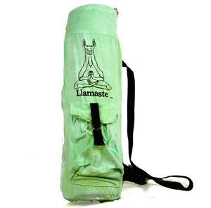 Llamaste Logo All Natural Canvas Signature Yoga Mat Bag Chakra series - Green