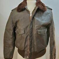 Vintage 60s Schott Leather Bomber Flight Jacket - Sherpa Collar IS674MS - 44