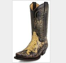 Mens Embroidered Mid Calf Western Cowboy Boots Vintage PU Leather Shoes