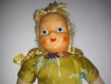 Antique Cloth Doll with Celluloid Face and Pin Jointed Legs Straw Stuffed