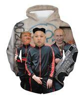 Funny Donald Trump Putin And Kim Jong 3D Print Mens Hoodie Sweatshirt Pullover