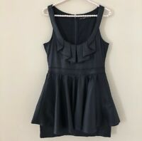 Hazel Anthropologie Womens Size M Medium Black Dress Ruffled Front Sleeveless