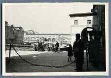 Italia, Firenze, Ponte Vecchio  Vintage silver print. Vintage Italy. Florence