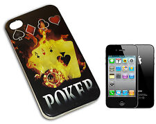 HOUSSE COUVERTURE FLIP COMPATIBLE POUR IPHONE 4 POKER AXES FIERY JAUNE