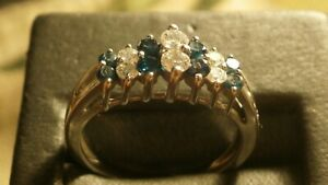 Diamond Blue And White 14kt White Gold Two Row Step Ring