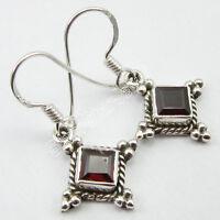 """CUT RED GARNET Gemstone TRIBAL Earrings, New OXIDIZED 925 Silver Jewelry 1.2"""""""