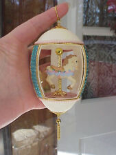 Real Hand Carved Goose Egg Gift Collectible Ornament Carousel Horse Blue/Pink
