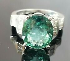 8.75TCW Sea Blue Green Tourmaline Diamond 14k white gold ring