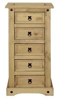 Corona 5 Drawer Narrow Chest of Drawers, Tallboy, Mexican Solid Pine, Rustic