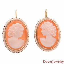 Antique Pearl 14K Yellow Gold Cameo Shell Earrings 5.0 Grams NR
