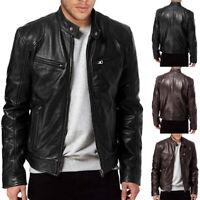 Vintage Mens Biker Leather Fleece Jacket Slim Fit Zipper Motorcycle Punk Outwear