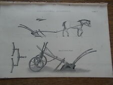 c19th c1870 Engraving Print Plate Agricultural Implement Improved Norfolk Plough