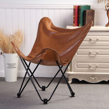 Vintage Brown PU Leather Black Metal Frame Lounge Butterfly Chairs Foldable Seat