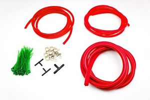 Silicone Vacuum Hose Assorted RED Kit 3/4/8mm Clamp set Fit Mitsubishi