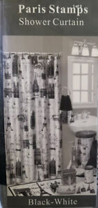 "French Paris Eiffel Tower Fabric Shower Curtain Black White Standard 70"" by 72"""