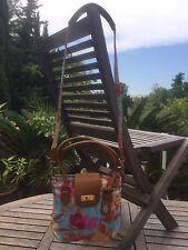 sac à main avec bandoulière en toile à motif floral cuir cognac MAC DOUGLAS