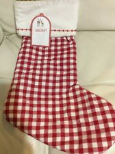 Pottery Barn Kids Christmas Quilted Red Gingham Stocking NWT No Mono