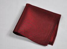 100% Silk Grids Pattern Burgundy Wine Dark Red Pocket Square Hanky Handkerchief