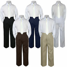 New 3pc Ivory Tie Shirt Suit for Baby Boy Toddler Kid Pants Color by Selection