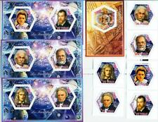 SCIENTISTS Curie Einstein SET 6 hexagon stamps +4 s/s Tchad 2014 #tchad2014-111s