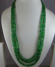 301cts NATURAL TRANSLUCENT EMERALD ZAMBIAN MULTI 3 STRAND FACETED BEAD NECKLACE
