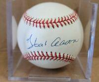 Hank Aaron Autographed Rawlings Baseball 1989-1994 MLB President Stamp Signed