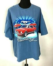 Ford Mustang T Shirt size XXL Mens Gildan Heavy Cotton Graphic Blue Horse Cars