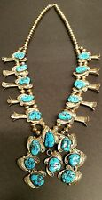 STERLING SILVER NATIVE AMERICAN TURQUOISE SQUASH BLOSSOM NECKLACE  LEAF FILAGREE