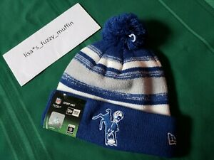 Baltimore Indianapolis Colts New Era knit pom hat beanie On Field Throwback 2014