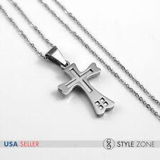 Women's Stainless Steel Mini Grid Small Golden Cross Pendant w Necklace Cute 13M