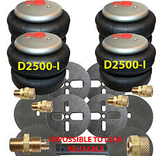 """2500-I 4 Air Bags 1/2"""" Fittings Airhose Springs Suspension w/Circle Brackets"""