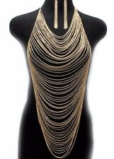 Body Armor Scarf Pendant Ladies Bib Necklace & Earrings Gold Plated Chains