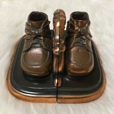 Bronze Copper Metal Shoes Boots Bookshelf Holder Stopper Collectible -Good *Read