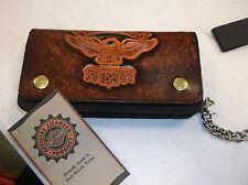 """Harley-davidson Brown Leather """"1903 Eagle"""" embossed biker wallet vintage"""