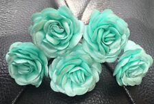 6 Bridal Wedding Green Mint Flower Hair Pins Clips Grips handmade